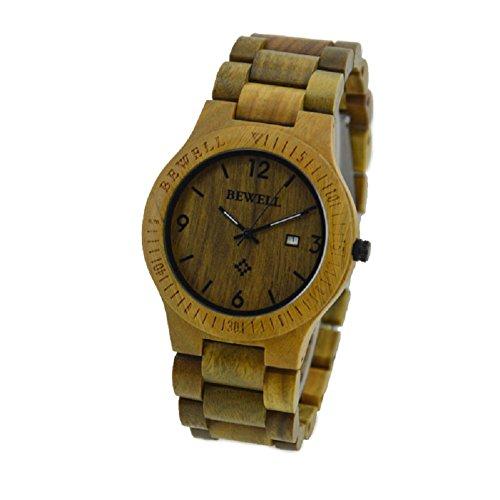 Bewell gruen Farbe Zebrano Holz Herren Uhren Quarz Analog Kalender Display Armbanduhr