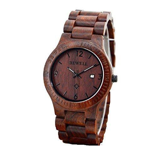 Bewell rot Farbe Zebrano Holz Quarz Analog Kalender Display Armbanduhr
