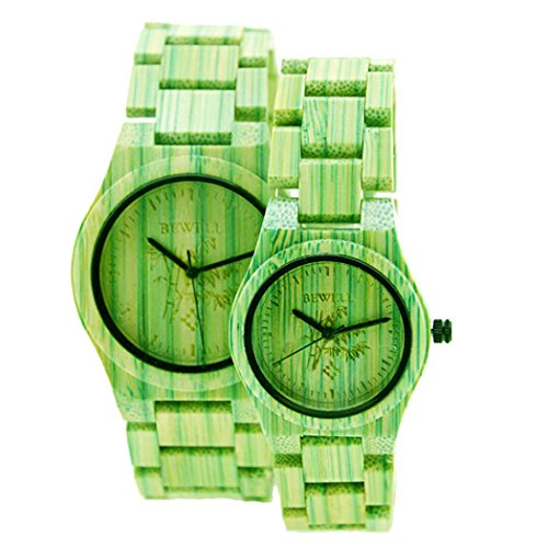 bewelllover Quarz Uhr Gruen Colorful Bambus Holz Armbanduhr Japan Bewegung Holz Paar Armbanduhren