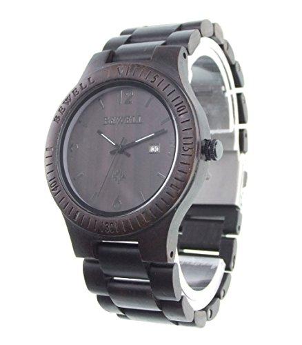 Bewell Herren Armbanduhr Zebraholz Quarz analog Armbanduhr mit Kalenderanzeige Schwarz