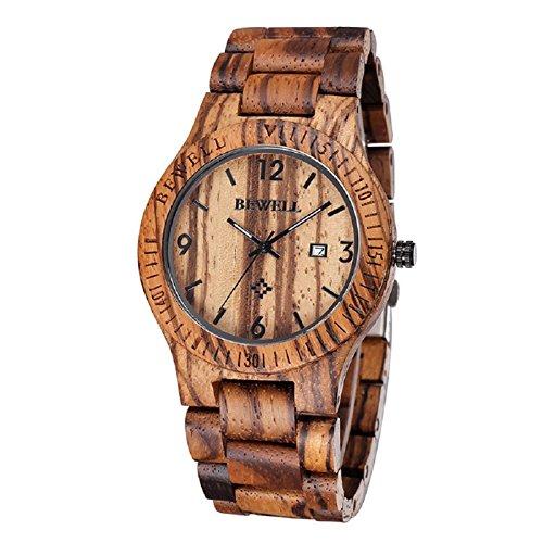 Bewell Herren Armbanduhren Zebraholz Quarz analog Armbanduhr mit Kalenderanzeige Kaffeefarben