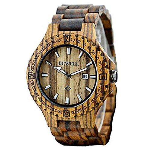 Bewell Holz Armbanduhr Quarzuhr Herren Uhr Sandelholz Uhr fuer Maenner mit Kalenderanzeige Zebraholz Armbanduhr