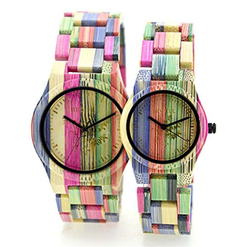Bewell Lover s Quarzuhr violett Colorful Bambus Holz Armbanduhr Japan Bewegung Holz Paar Armbanduhren