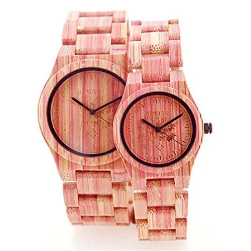 Bewell Lover s Quarzuhr pink Colorful Bambus Holz Armbanduhr Japan Bewegung Holz Paar Armbanduhren