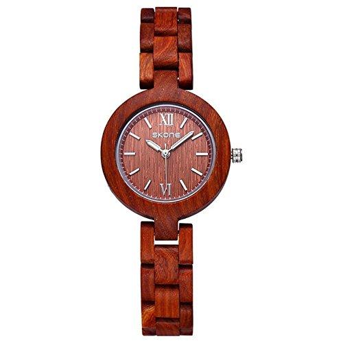 sililiun Holz Uhren fuer Frauen Analog Quarz Holz Armbanduhr Rot