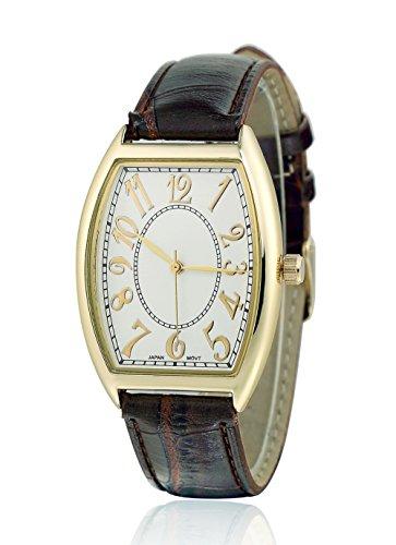 sililun Damen Fashion Casual Quarz Armbanduhr Braun Lederband Arabisches Zifferblatt Damen Armbanduhr