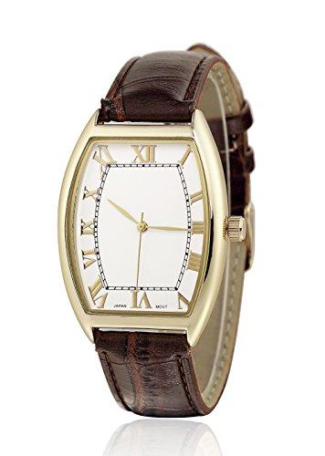 sililun Damen Fashion Casual Quarz Armbanduhr Braun Lederband Roemisches Zifferblatt Damen Armbanduhr