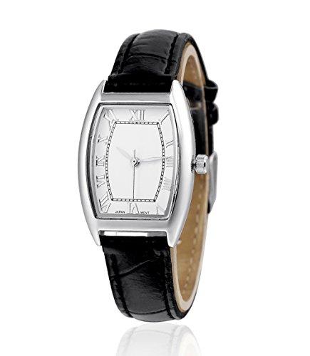 sililun Damen Fashion Casual Quarz Armbanduhr Schwarz Lederband Roemisches Zifferblatt Damen Armbanduhr