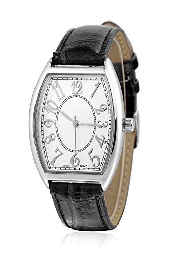 sililun Vintage rechteckig Zifferblatt arabische Ziffern schwarz pu Leder Band Armbanduhr