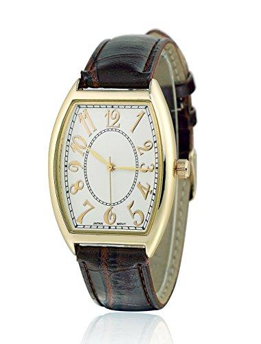 sililun Vintage rechteckig Zifferblatt arabische Ziffern braun PU Leder Band Armbanduhr
