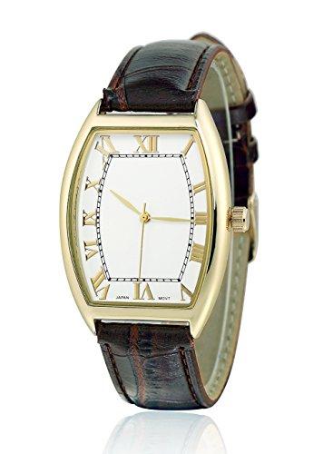 sililun Vintage rechteckig Zifferblatt roemischen Ziffern braun PU Leder Band Armbanduhr
