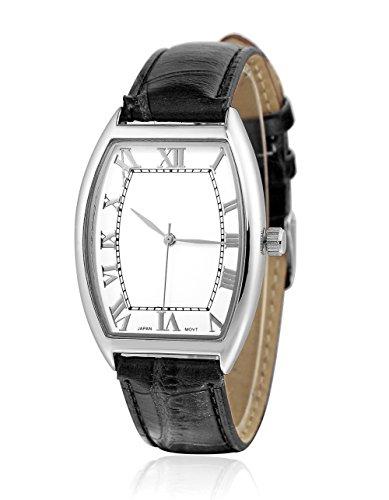 sililun Vintage rechteckig Zifferblatt roemischen Ziffern Schwarz PU Leder Band Armbanduhr