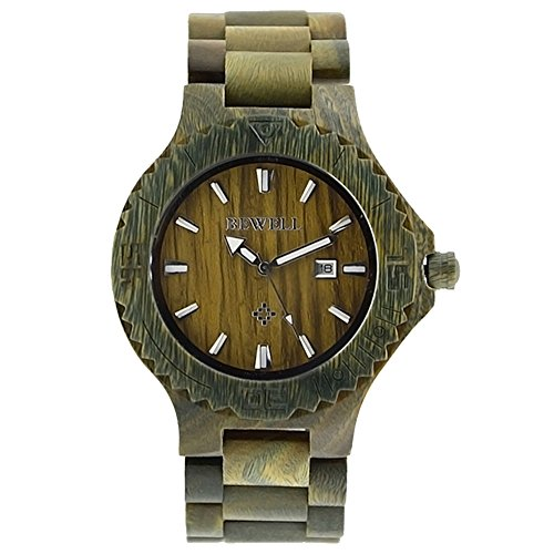 sililun Holz Uhren Fashion Armbanduhren fuer Maenner mit Kalender Kompass Holz Uhren Gruen