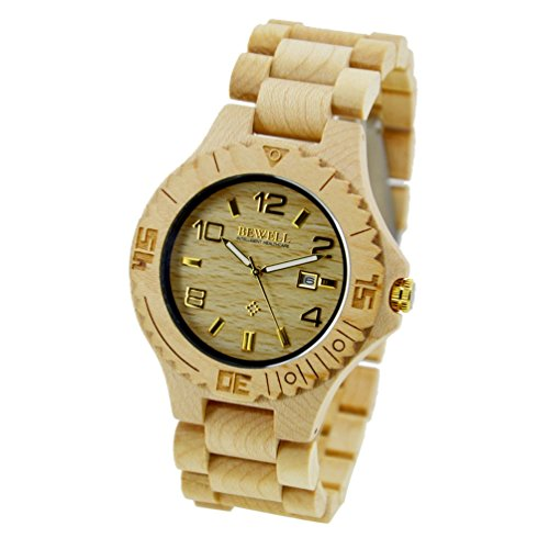 sililun Herren Uhren Quarz Holz Armbanduhren fuer Herren aus Ahornholz Uhren mit Gold Index