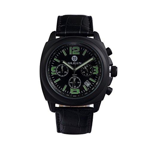 sililun Herren Luxus runden Zifferblatt Quarz Multifunktionsuhr Echt Leder Band Herren Dress Gifts watches black