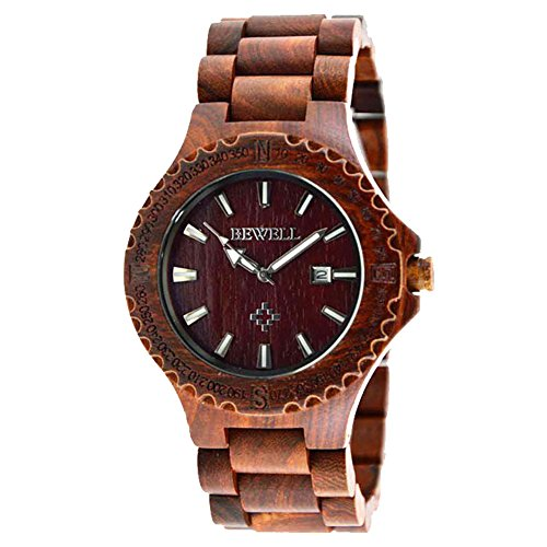 sililun Holz Uhren fuer Maenner mit Fenster Sandelholz Holz Herren Armbanduhr Rot