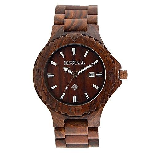 sililun Holz Uhren fuer Maenner mit Kalender Sandale Holz Herren Uhren Rot