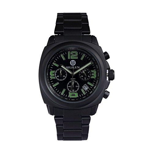 sililun Herren Quarz Analog Multifunktional Business Armbanduhr Outdoor Sport Armbanduhr Edelstahl Band Schwarz