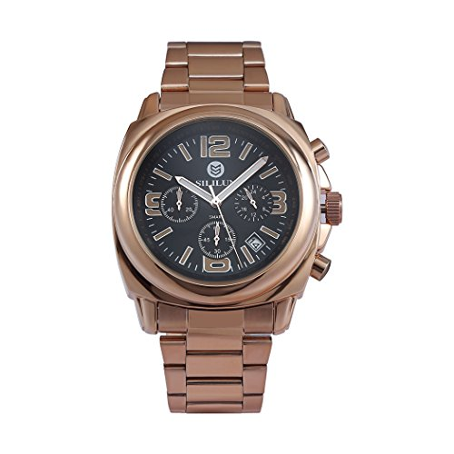 sililun Herren Fashion Quarz Multifunktional Business Armbanduhr Rose Gold Edelstahl Band Outdoor Sport Armbanduhr