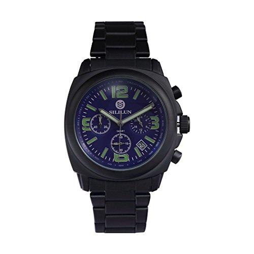 sililun Herren Quarz Analog Multifunktional Business Armbanduhr Outdoor Sport Armbanduhr Edelstahl band blau