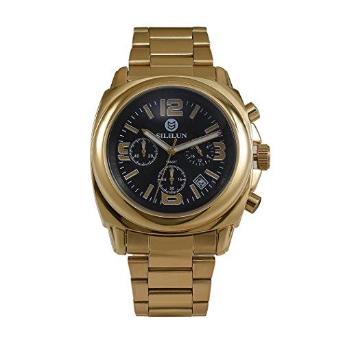 sililun Herren Fashion Quarz Multifunktional Business Armbanduhr Gold Edelstahl Band Outdoor Sport Armbanduhr