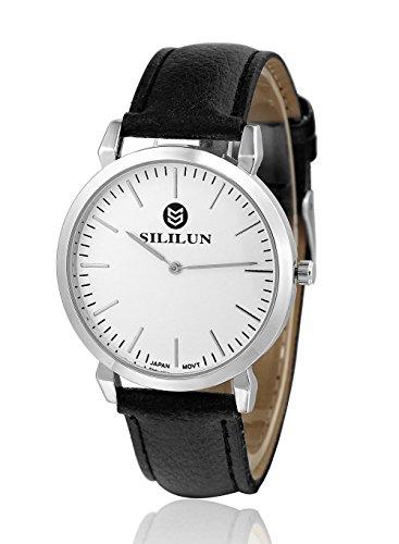 sililun Herren Schwarz runden Zifferblatt Uhr Lederband Quarz Armbanduhr schwarz