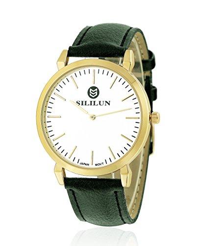 sililun Herren Schwarz runden Zifferblatt Uhr Lederband Quarz Armbanduhr braun