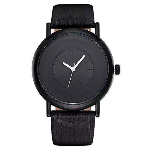 SINOBI Mann Marke Uhr Fashion Casual einfach Analog Quarz MVMT PU Lederband Uhren Herren Luxus Schwarz