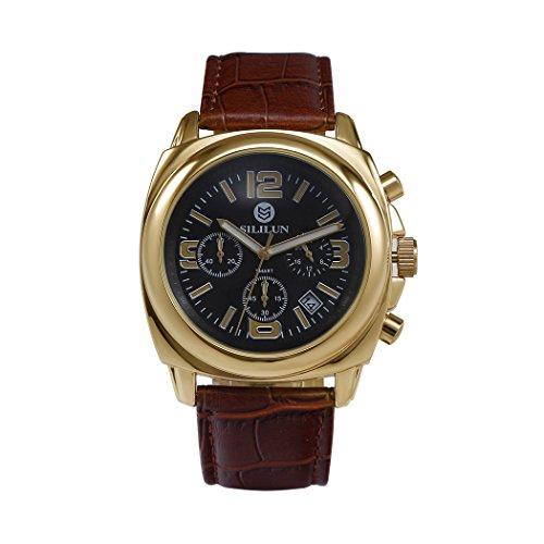 sililun Herren runden Zifferblatt Armbanduhr 3 ATM Wasserdicht Multifunktional Quarz Echt Leder Band Outdoor Sport watch gold