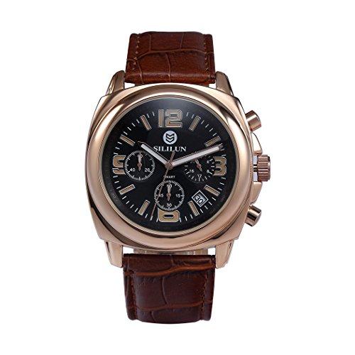 sililun Herren runden Zifferblatt Armbanduhr 3 ATM Wasserdicht Multifunktional Quarz Echt Leder Band Outdoor Sport watch rose Gold
