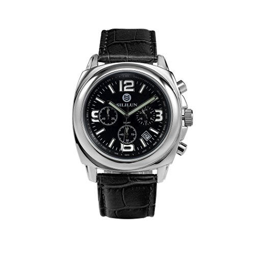 sililun Herren runden Zifferblatt Armbanduhr 3 ATM Wasserdicht Multifunktional Quarz Leder Band ECHTLEDER Business wristwatch black