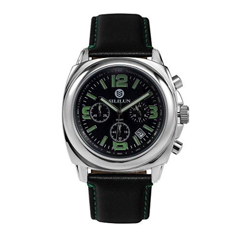 sililun Herren runden Zifferblatt Armbanduhr 3 ATM Wasserdicht Multifunktional Quarz Leder Band ECHTLEDER Business wristwatch green