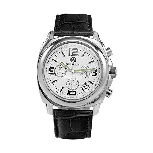 sililun Herren runden Zifferblatt Armbanduhr 3 ATM Wasserdicht Multifunktional Quarz Leder Band ECHTLEDER Business wristwatch white