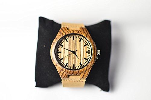 Oakmont Timepieces Zebra Uhr aus Holz 45mm Bambus Ziffernblatt mit japanischem Quarz Uhrwerk 12 Monate Garantie