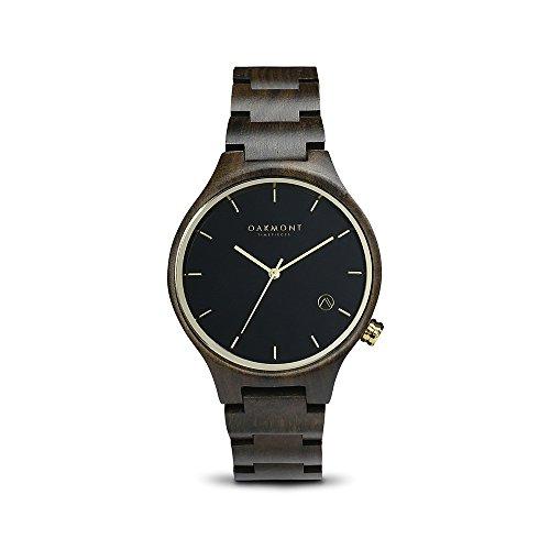 Oakmont Timepieces Tokyo Uhr aus Holz 40mm schwarz Sandelholz Ziffernblatt mit japanischem Quarz Uhrwerk 12 Monate Garantie