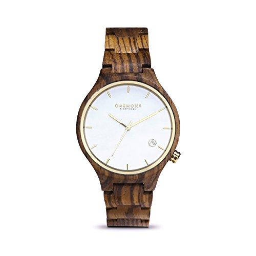 Oakmont Timepieces Monaco Uhr aus Holz 40mm Zebraholz Ziffernblatt mit japanischem Quarz Uhrwerk 12 Monate Garantie