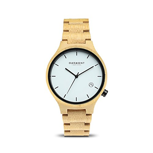 Oakmont Timepieces Oslo Uhr aus Holz 40mm natuerliche Bambus Ziffernblatt mit japanischem Quarz Uhrwerk 12 Monate Garantie