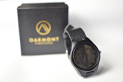 Oakmont Zeitmesser Blackout Holz Uhr 45 mm Bambus Zifferblatt mit Japanisches Quarzuhrwerk 12 Monate Garantie INC