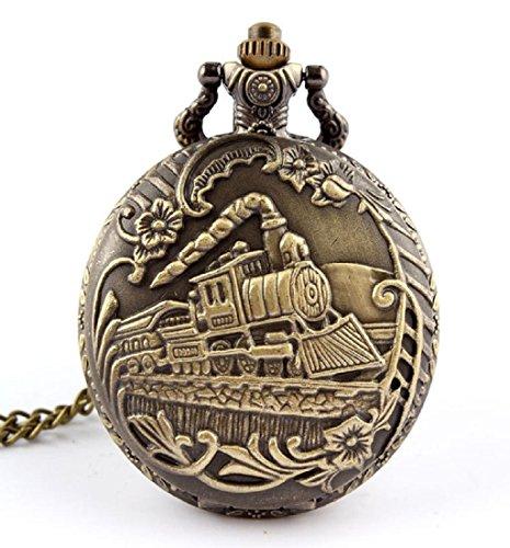 Rcool Unisex antiken Gehaeuse Edelstahl Uhr Vintage Messing Rib Kette Quarz Pocket Watch Zug