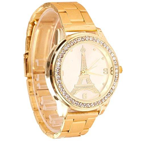 Rcool Frauen Classic wasserdicht Quartz eisernen Turm rund um Crystal Armbanduhren Gold