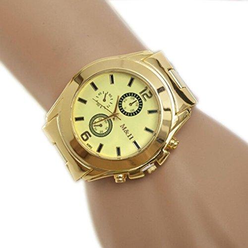 Rcool Herren Edelstahl Quarz Goldarmband grosses Glas Zifferblatt Armbanduhren Gold