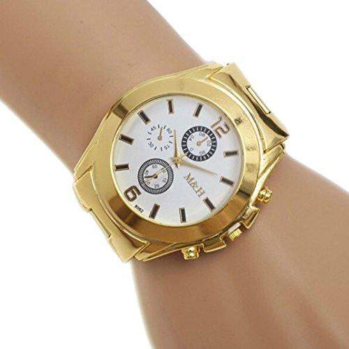 Rcool Herren Edelstahl Quarz Goldarmband grosses Glas Zifferblatt Armbanduhren Weiss
