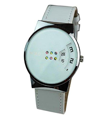 Rcool Kreative Karussell Glas Quarz Uhr Skala Pu Lederguertel Uhren Weiss fuer Frauen