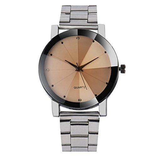 Rcool Frauen Kristall Analog Quarz Handgelenk Watch Armband aus Edelstahl mit RoundRound Gehaeuse Silber