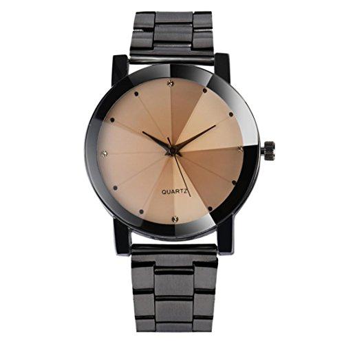 Rcool Frauen Kristall Analog Quarz Handgelenk Watch Armband aus Edelstahl mit RoundRound Gehaeuse Schwarz