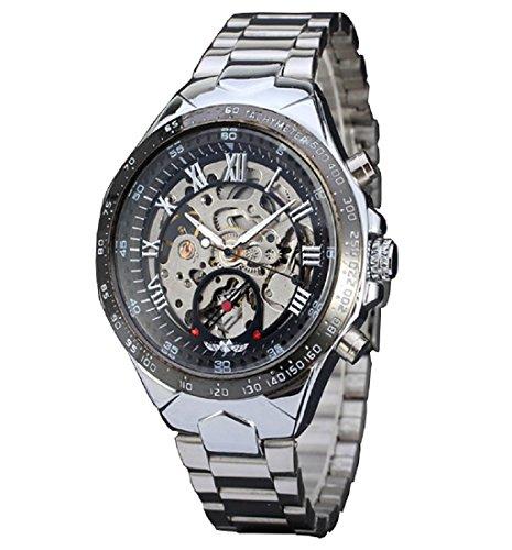 Rcool Luxus russische Skelett Automatik Uhren Edelstahl Uhr Silber fuer Maenner