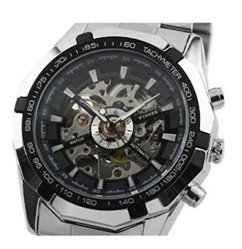 Rcool Luxus Skelett Automatik Uhren Edelstahl Uhr fuer Herren