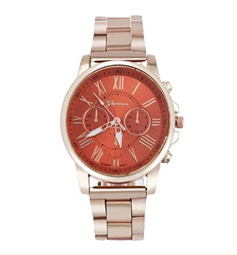 Rcool Unisex Luxus stilvolle Mode roemische Zahl Uhr Edelstahl Quarz Zifferblatt Armbanduhr Orange