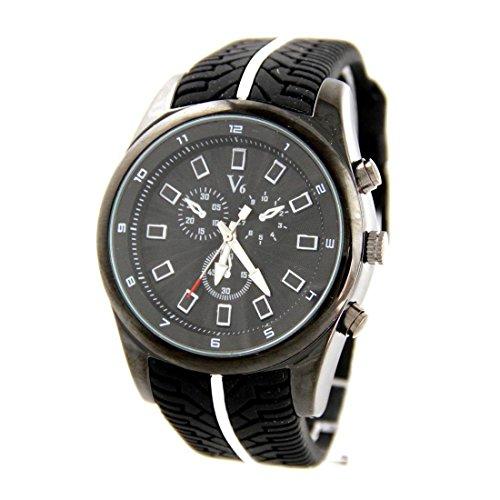 Armbanduhr mit Silikon schwarz V6 1263