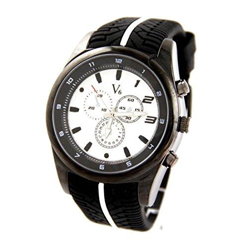 Grosse Armbanduhr Silikon schwarz V6 1237